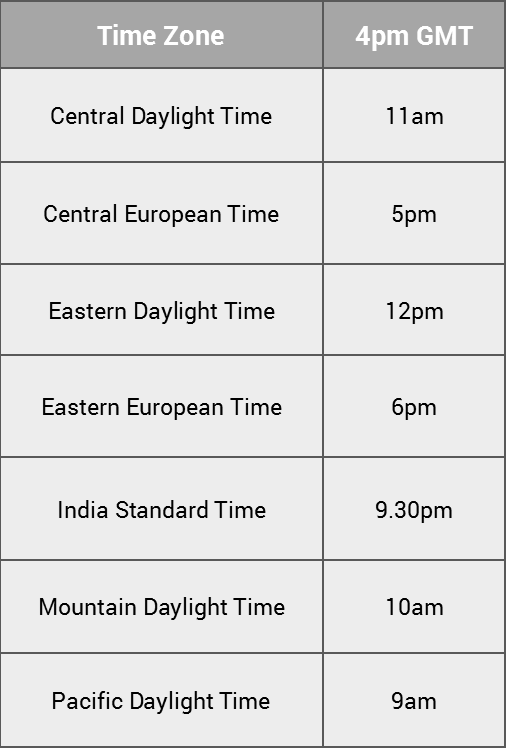 Webinar Times 4pm GMT