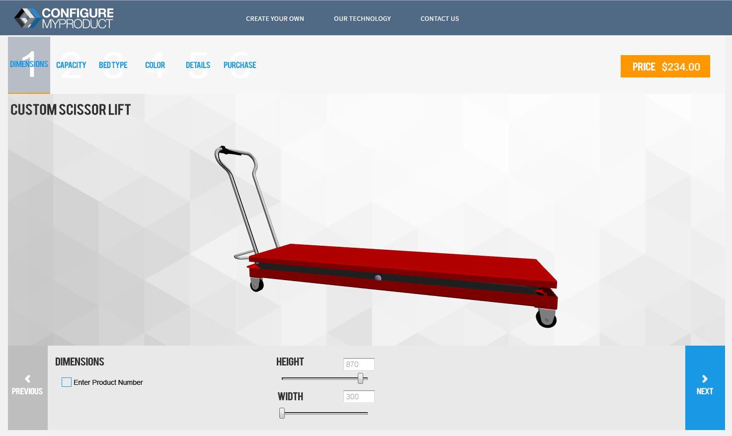 Online Sales Configurator - Scissor Lift