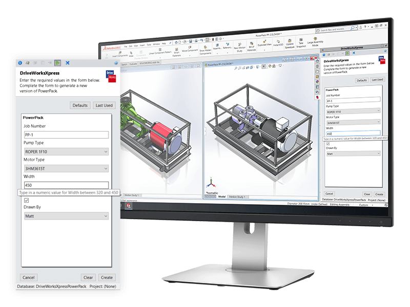 DriveWorksXpress being used to automate SOLIDWORKS for free