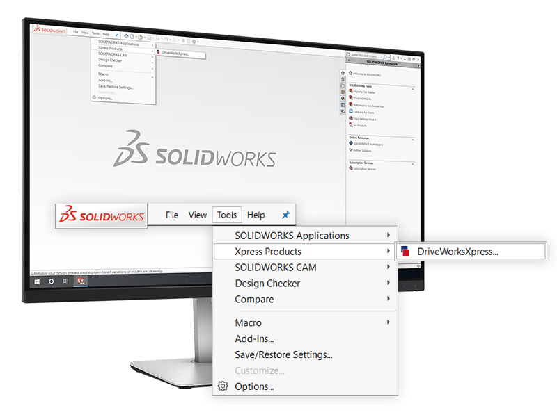 DriveWorksXpress being opened from the SOLIDWORKS tools menu